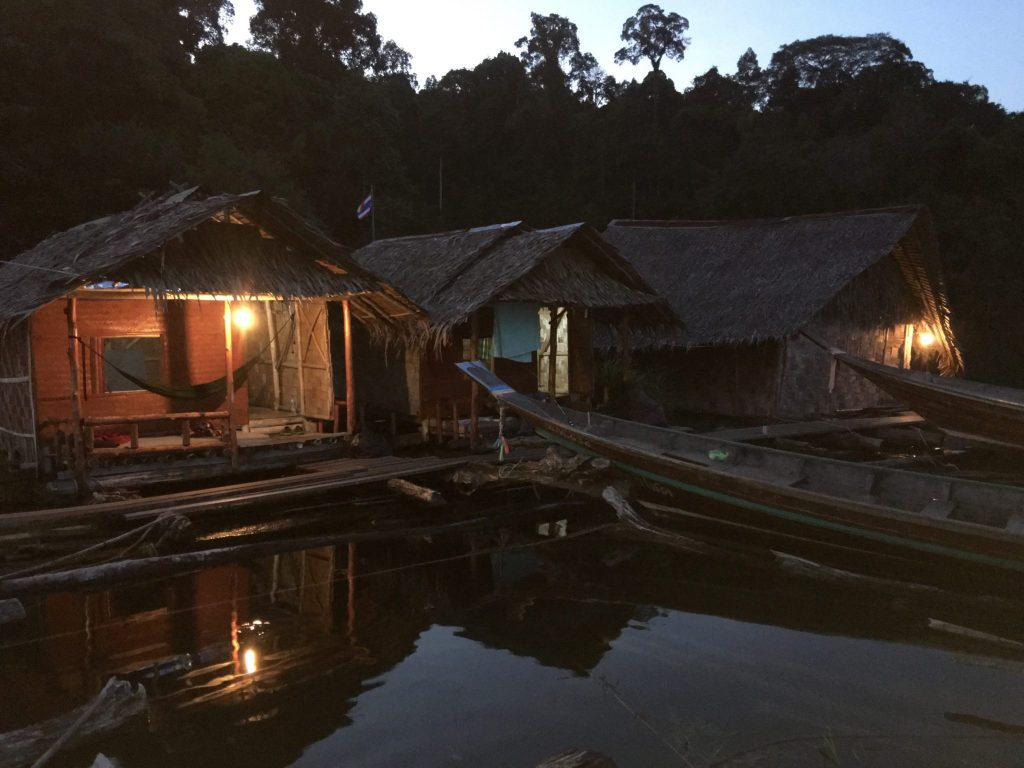 Floating lodge huts at dusk, Rachaprabha Lake, Khao Sok National Park, Thailand (Photo: Alan Seale)