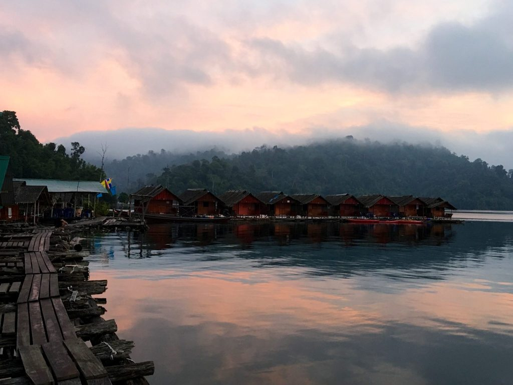 Dawn over floating lodge, Rachaprabha Lake, Khao Sok National Park, Thailand (Photo: Alan Seale)