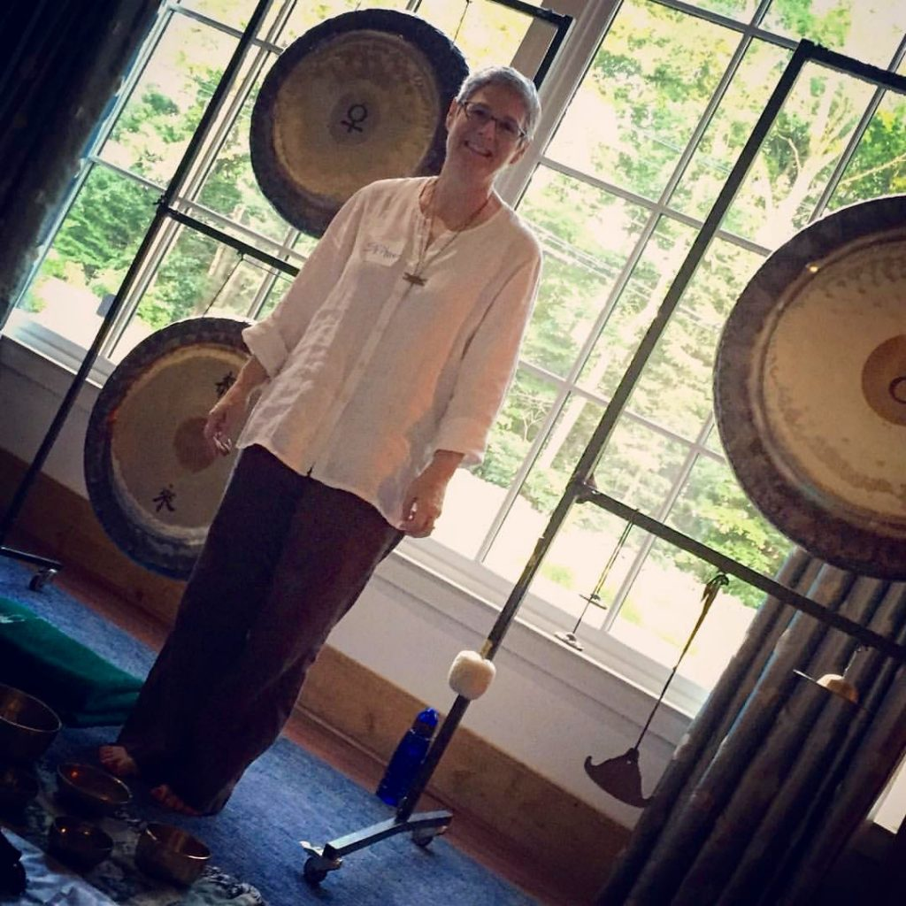 Stephanie Marisca just before the Gong Bath at the 2016 Transformational Presence Global Summit