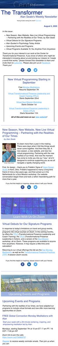 The Transformer Newsletter Screenshot