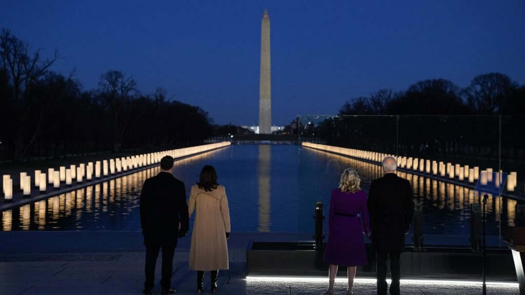 Joe Biden and Kamala Harris with their spouses at the COVID-19 Ceremony of Remembrance January 19, 2021
